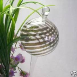 Durstkugel mit Stopfen silberne Streifen - Bild vergrößern