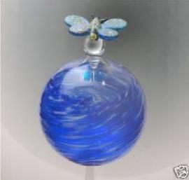 Durstkugel blau mit Stopfen und Schmetterling - Bild vergrößern